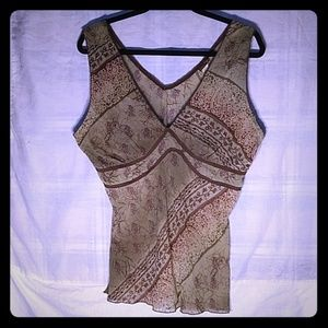 EASEL Floral Earthy Sheer Sleeveless Low-Cut Top